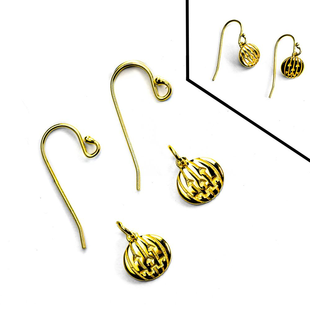 Gold Over Sterling Silver Fishhook Ear Wire Jack-O-Lantern Earring DIY Kit