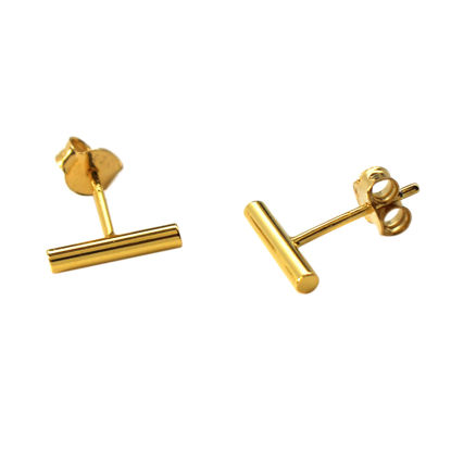 gold plated silver bar earring studs