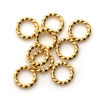 Gold Over Sterling Silver Closed Jump Rings - Twisted Circle shape 19 ga 1mm thickness - 6mm (10 pcs)