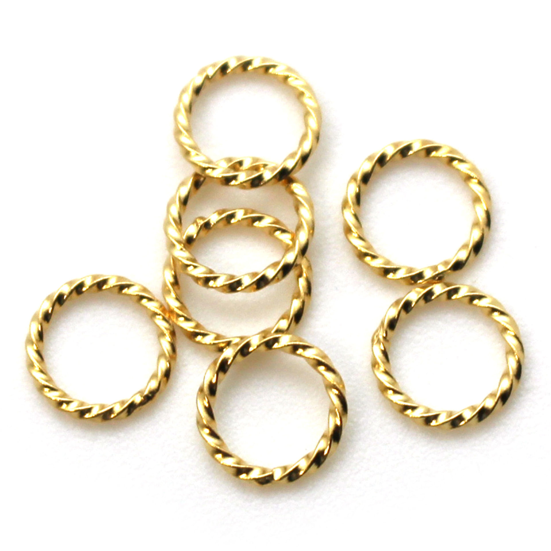 Gold Over Sterling Silver Closed Jump Rings - Twisted Circle shape 18ga 1mm thickness - 8mm (10 pcs)