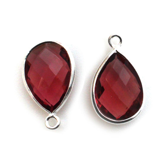 Bezel Gemstone Pendant -Sterling Silver Gem- 10x14mm Faceted Small Teardop Shape - Rubellite Quartz (sold per 2 pieces)