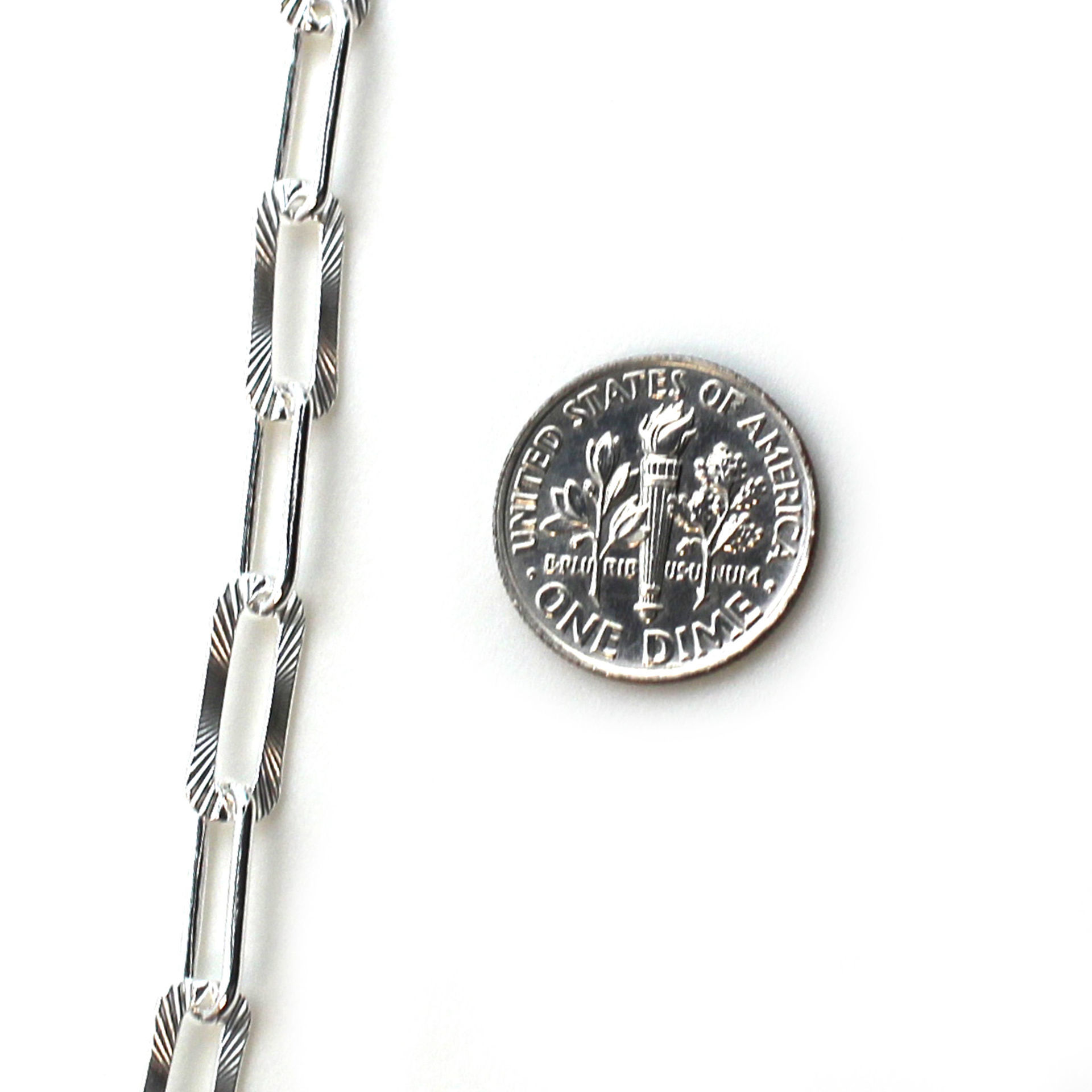 Sterling Silver Chain- Textured Rectangle Long Box Link (sold per foot)