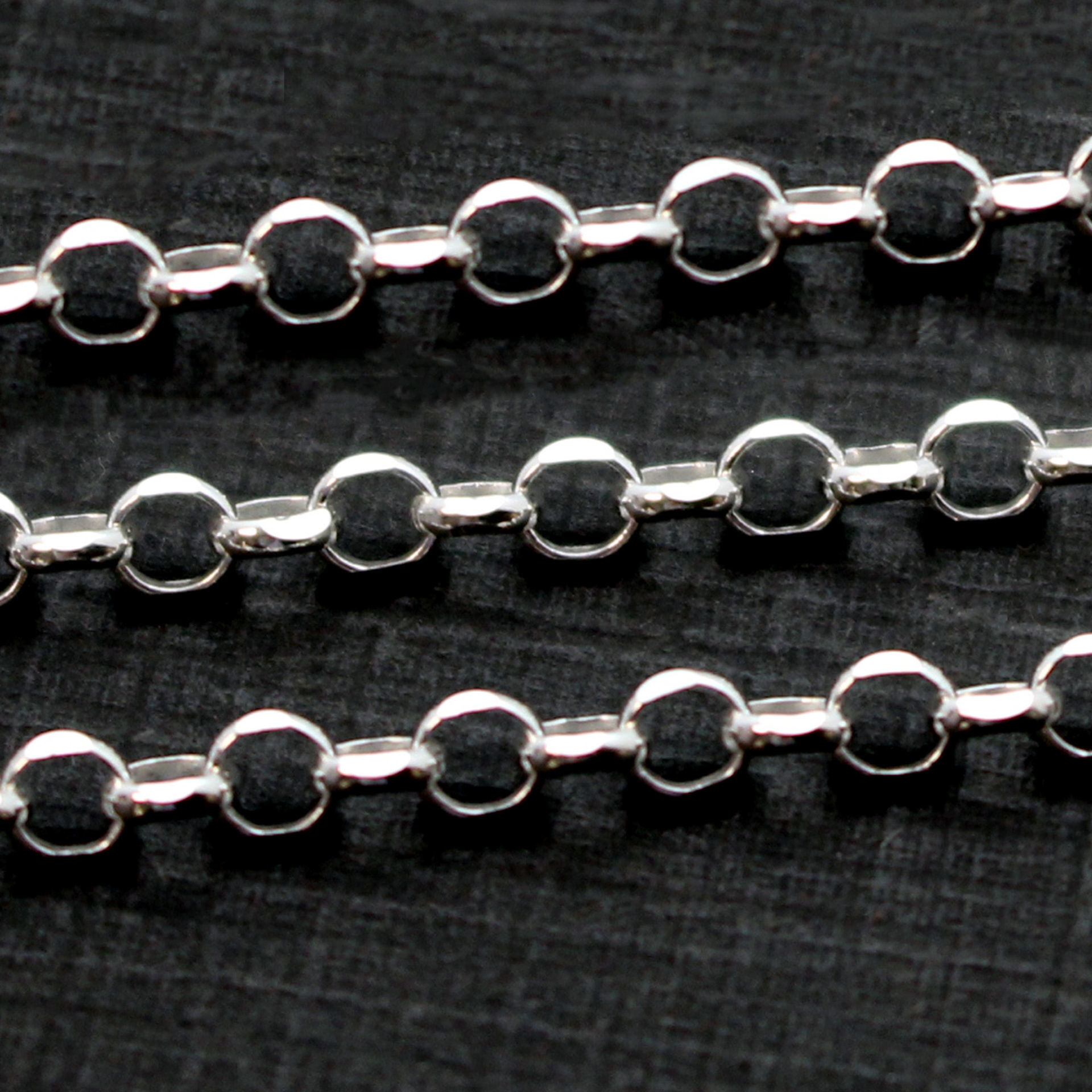 Sterling Silver Chain-3.2mm Diamond Cut Rolo Chain - Unifinished Bulk Chain (sold per foot)