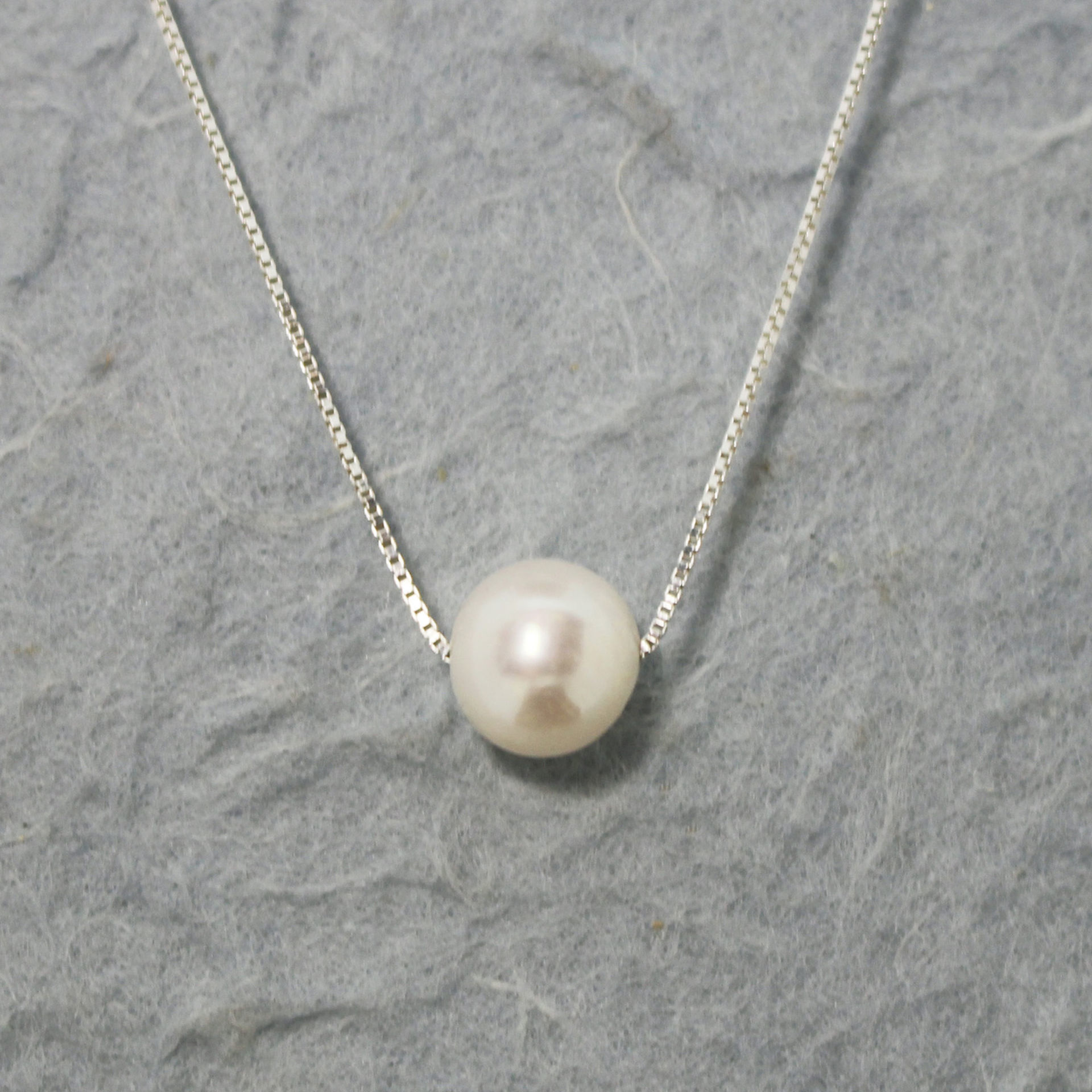 925 Sterling Silver Floating White Freshwater Pearl Necklace - 18""