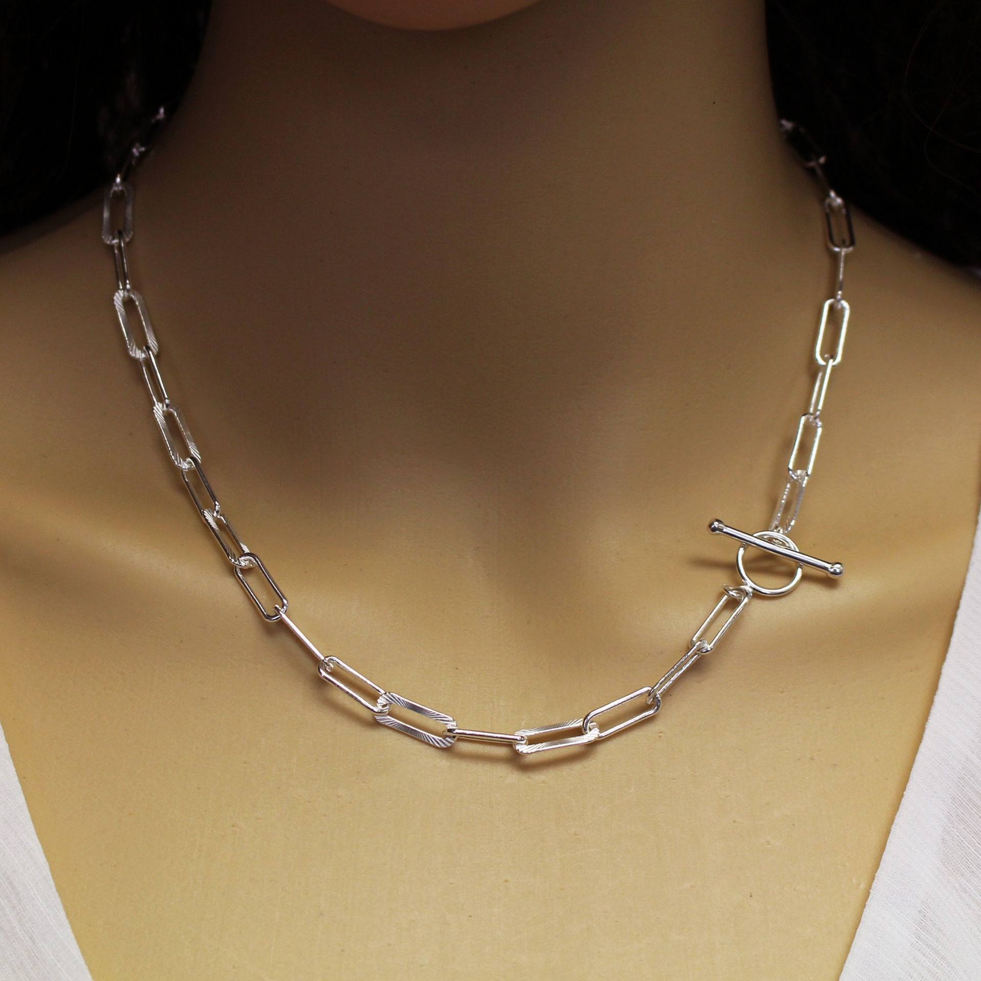 Sterling Silver Chain Necklace - Rectangle Link Textured Chain Necklace