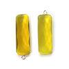 Bezel Charm Pendant-Sterling Silver Charm - Lemon Quartz -Elongated Rectangle Shape-34 by 11mm (sold per 2 pieces)