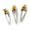 Faceted Quartz Crystal Spike Pendant, Fine Point Multi Faceted Pendulum Pendant, 24K Gold Plated Brass - 50mm