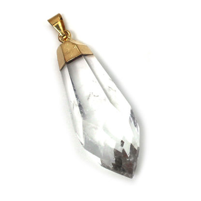 Raw Crystal,Faceted Quartz Crystal Spike Pendant, Long Crystal Pendulum Pendant - 50mm