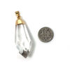 Raw Crystal,Faceted Quartz Crystal Spike Pendant, Long Crystal Pendulum Pendant - 50mm
