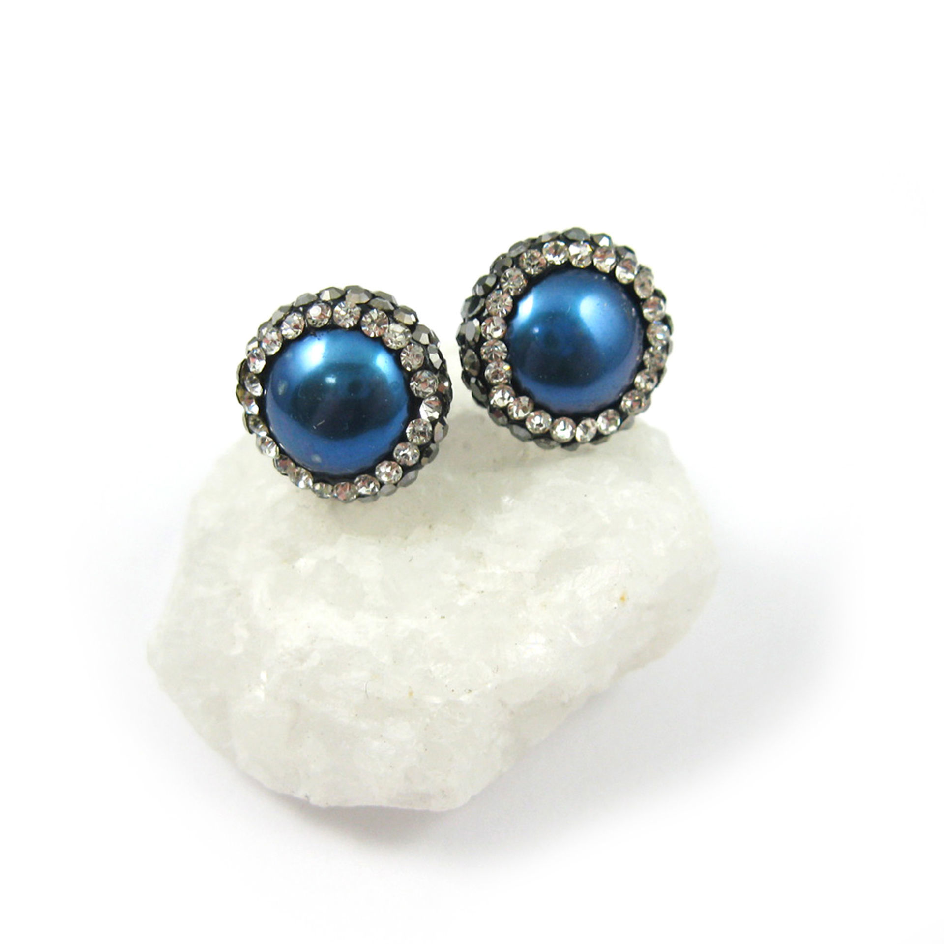 Blue Freshwater Pearl Pave Earring, Sterling Silver Posts, Pearl and Pave Earrings - 1 pair