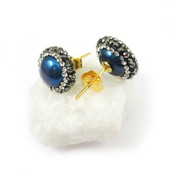 Blue Freshwater Pearl Pave Earring, 22K Gold plated Sterling Silver Posts, Pearl and Pave Earrings - 1 pair
