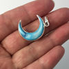 Natural Shell Crescent Moon Pendant - Blue Shell - Silver Plated Edging and Bail - 21mm