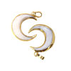 Natural Shell Crescent Moon Pendant - White Shell - Gold Plated Edging and Bail - 21mm