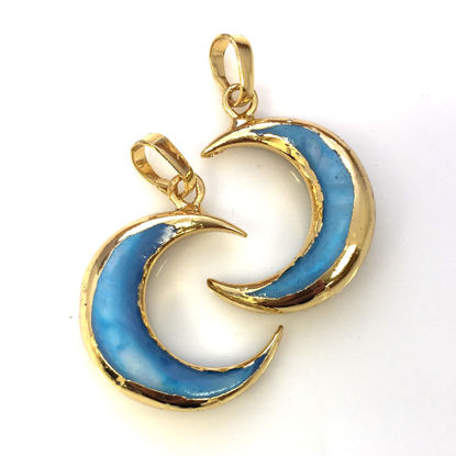 Natural Shell Crescent Moon Pendant - Blue Shell - Gold Plated Edging and Bail - 21mm