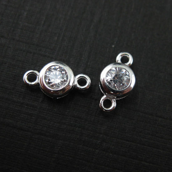 Sterling Silver CZ Stone Tiny Round Connectors - 5mm (sold per piece)