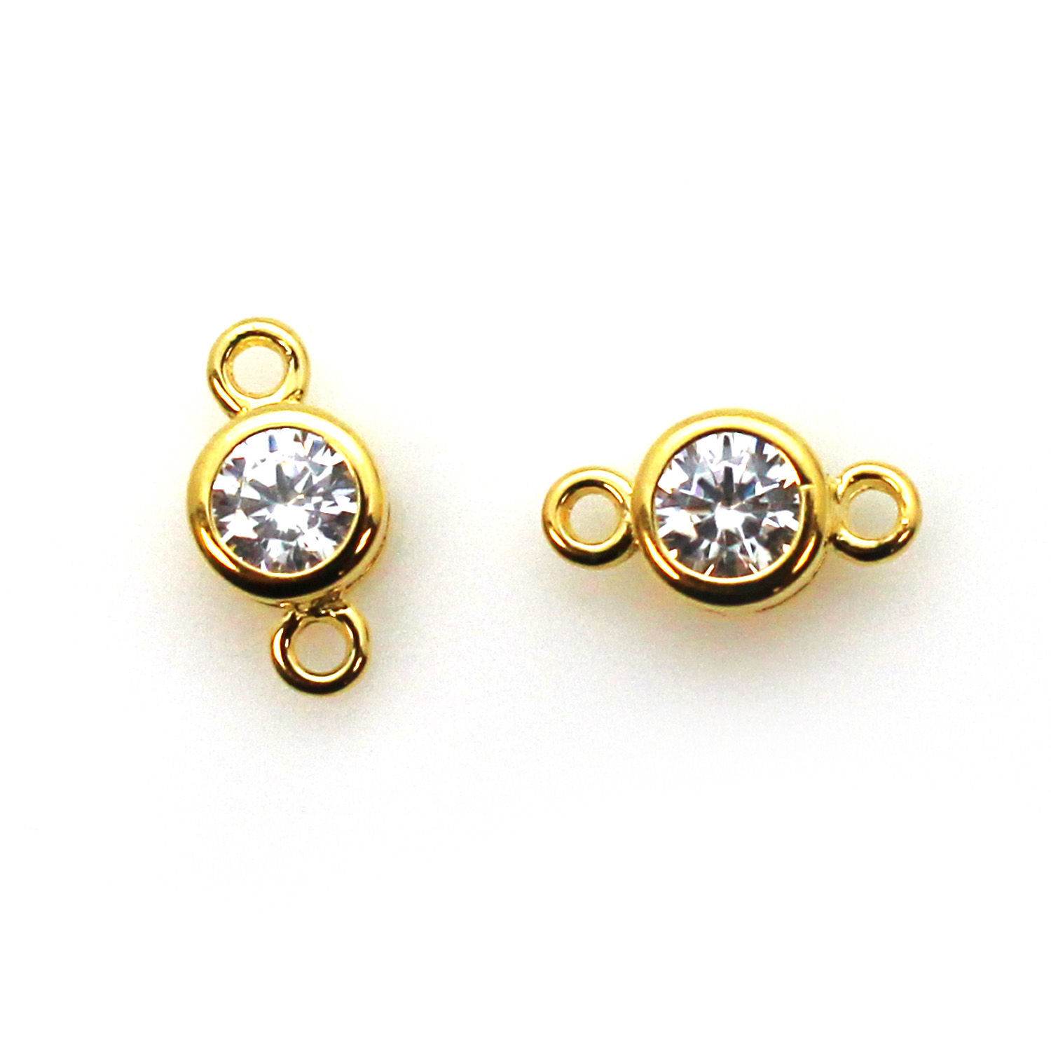 Gold over Sterling Silver CZ Stone Tiny Round Connectors - 5mm (sold per piece)